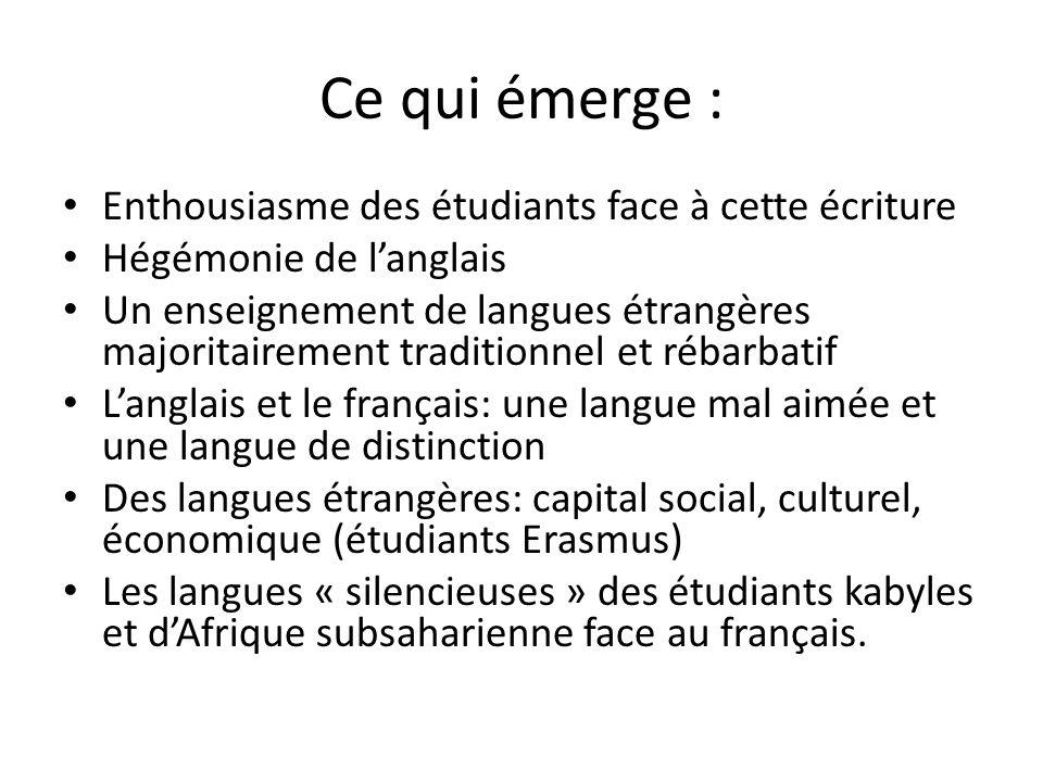Ce qui émerge : Enthousiasme des étudiants face à cette écriture Hégémonie de langlais Un enseignement de langues étrangères majoritairement tradition