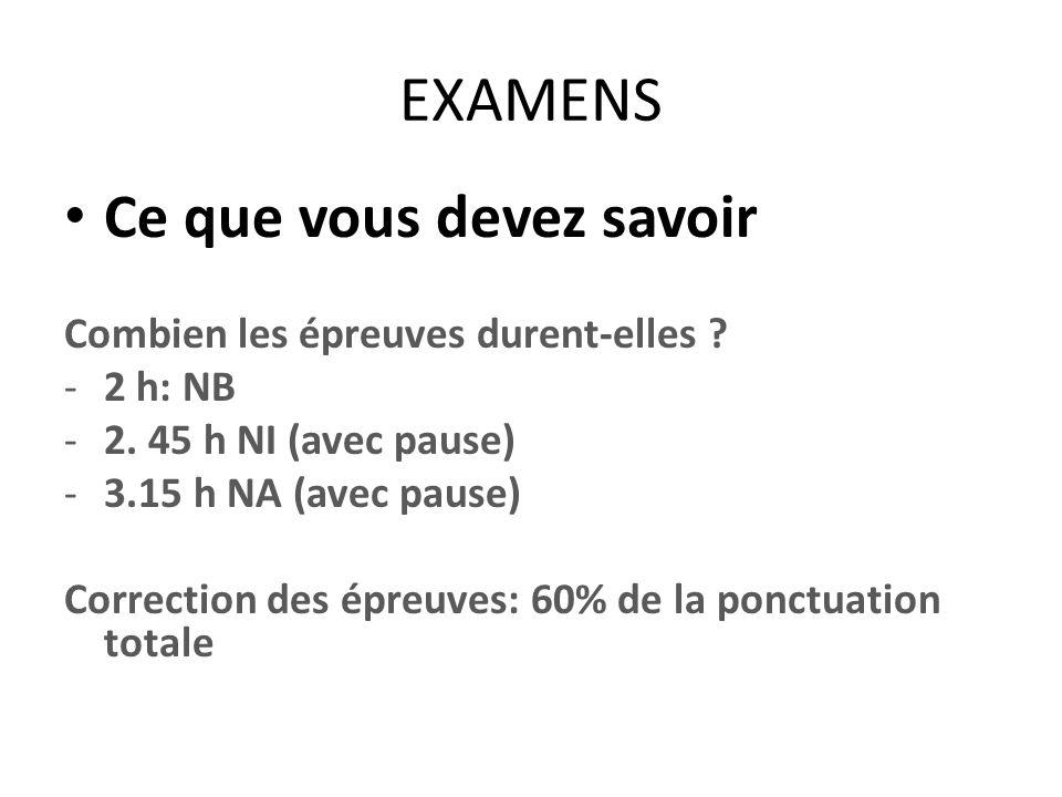 EXAMENS Ce que vous devez savoir Combien les épreuves durent-elles ? -2 h: NB -2. 45 h NI (avec pause) -3.15 h NA (avec pause) Correction des épreuves