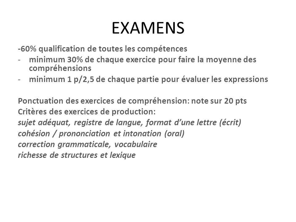 EXAMENS -60% qualification de toutes les compétences -minimum 30% de chaque exercice pour faire la moyenne des compréhensions -minimum 1 p/2,5 de chaq