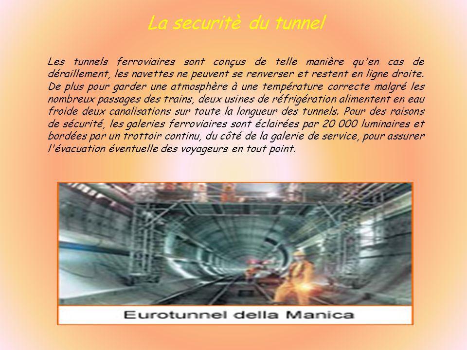 La securitè du tunnel Les tunnels ferroviaires sont conçus de telle manière qu'en cas de déraillement, les navettes ne peuvent se renverser et restent