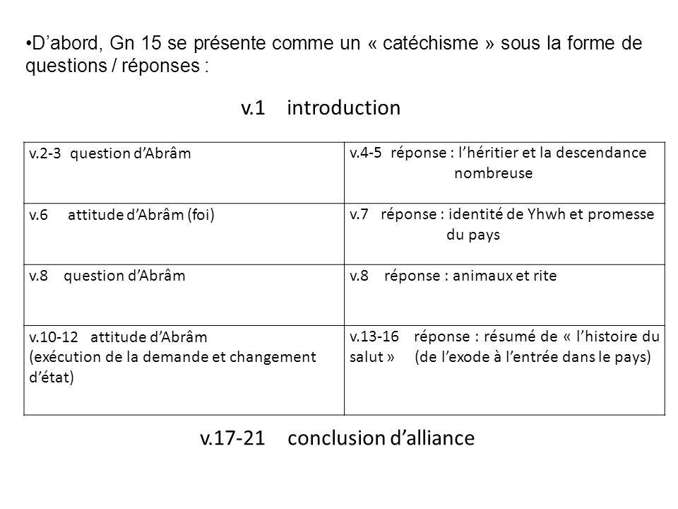 v.2-3 question dAbrâmv.4-5 réponse : lhéritier et la descendance nombreuse v.6 attitude dAbrâm (foi)v.7 réponse : identité de Yhwh et promesse du pays v.8 question dAbrâmv.8 réponse : animaux et rite v.10-12 attitude dAbrâm (exécution de la demande et changement détat) v.13-16 réponse : résumé de « lhistoire du salut » (de lexode à lentrée dans le pays) Dabord, Gn 15 se présente comme un « catéchisme » sous la forme de questions / réponses : v.1 introduction v.17-21 conclusion dalliance