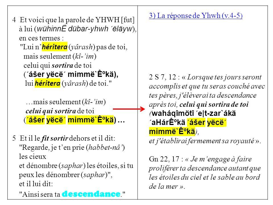 4 Et voici que la parole de YHWH [fut] à lui ( wühinnË dübar-yhwh ´ëläyw ), en ces termes : Lui n héritera (yârash) pas de toi, mais seulement (kî-im) celui qui sortira de toi ( ´ášer yëcë´ mimmë`ʺkä), lui héritera (yârash) de toi. …mais seulement (kî-im) celui qui sortira de toi ( ´ášer yëcë´ mimmë`ʺkä) … 5 Et il le fit sortir dehors et il dit: Regarde, je ten prie (habbet-nâ) les cieux et dénombre (saphar) les étoiles, si tu peux les dénombrer (saphar) , et il lui dit: Ainsi sera ta descendance. 3) La réponse de Yhwh (v.4-5 ) 2 S 7, 12 : « Lorsque tes jours seront accomplis et que tu seras couché avec tes pères, j élèverai ta descendance après toi, celui qui sortira de toi ( waháqîmötî ´e|t-zar`ákä ´aHárʺkä ´ášer yëcë´ mimmë`ʺkä ), et j établirai fermement sa royauté ».