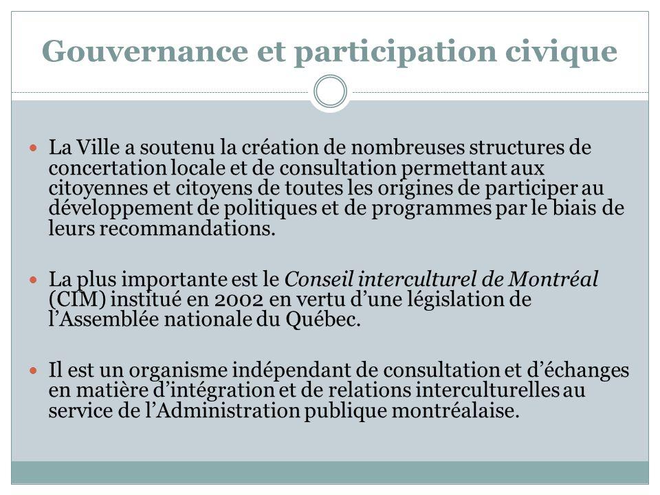 Gouvernance et participation civique La Ville a soutenu la création de nombreuses structures de concertation locale et de consultation permettant aux citoyennes et citoyens de toutes les origines de participer au développement de politiques et de programmes par le biais de leurs recommandations.