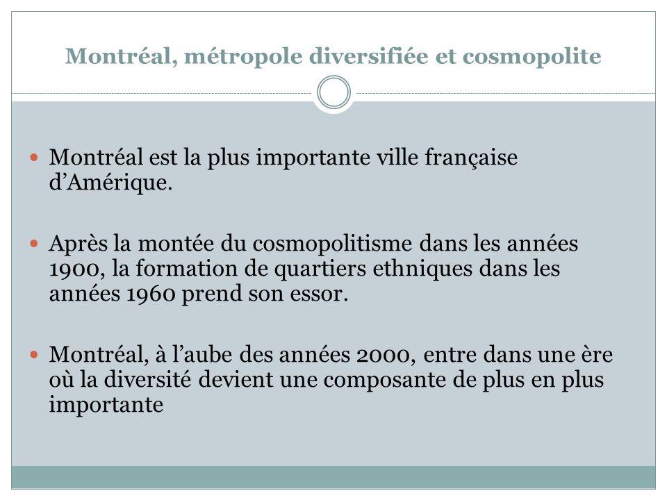 Montréal, métropole diversifiée et cosmopolite Montréal est la plus importante ville française dAmérique.