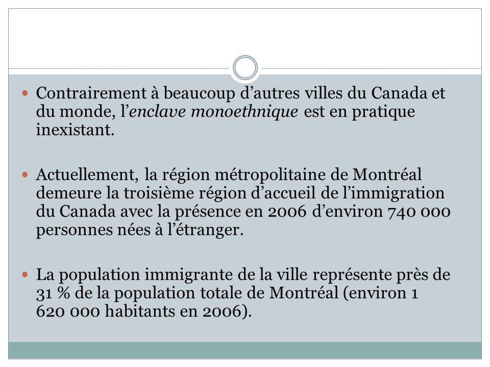 Contrairement à beaucoup dautres villes du Canada et du monde, lenclave monoethnique est en pratique inexistant.