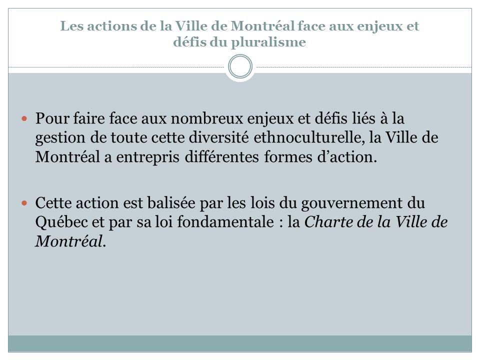 Dautres outils développés par la Ville La Déclaration de Montréal contre la discrimination raciale en 1989, La Déclaration de Montréal pour la diversité culturelle et linclusion en 2004 La Charte montréalaise des droits et responsabilités en 2005