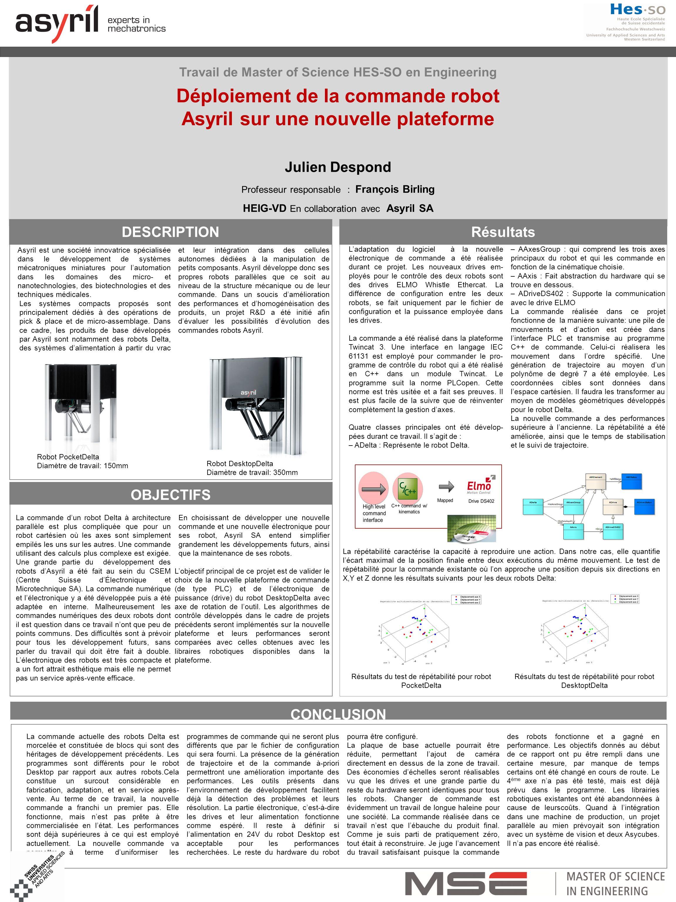 Résultats du test de répétabilité pour robot PocketDelta Résultats du test de répétabilité pour robot DesktoptDelta Travail de Master of Science HES-S