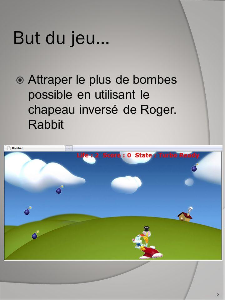 But du jeu… Attraper le plus de bombes possible en utilisant le chapeau inversé de Roger. Rabbit 2