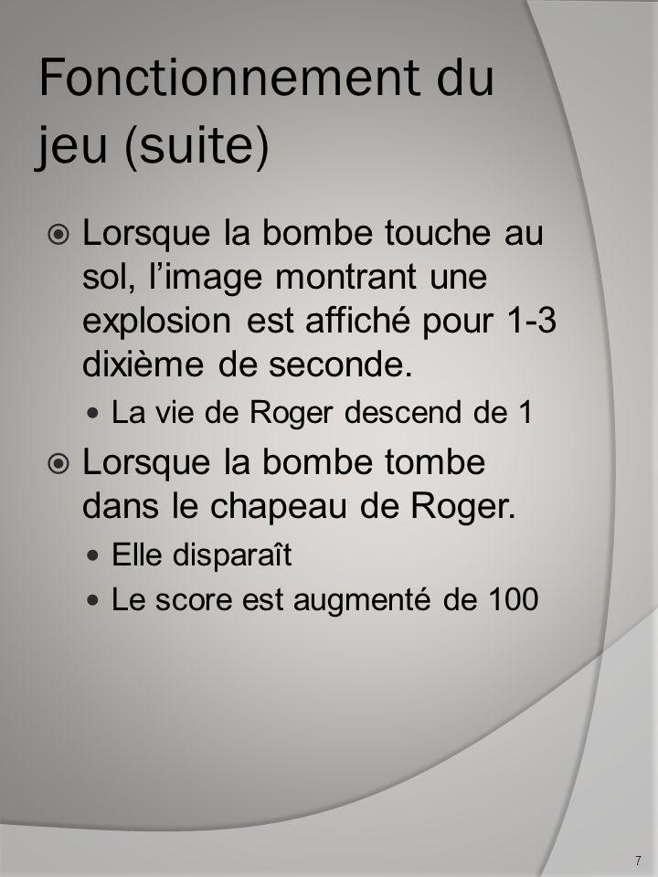 Lorsque la bombe touche au sol, limage montrant une explosion est affiché pour 1-3 dixième de seconde.