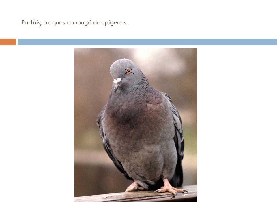Parfois, Jacques a mangé des pigeons.