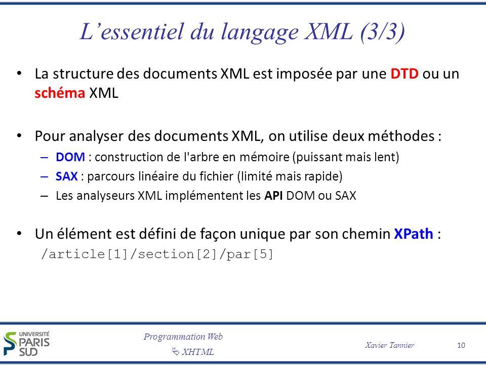 Programmation Web XHTML Xavier Tannier Lessentiel du langage XML (3/3) La structure des documents XML est imposée par une DTD ou un schéma XML Pour an