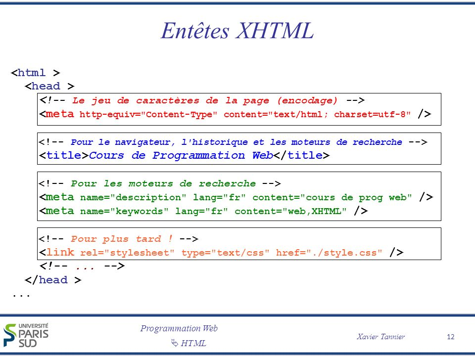 Programmation Web Xavier Tannier HTML Entêtes XHTML 12 Cours de Programmation Web...
