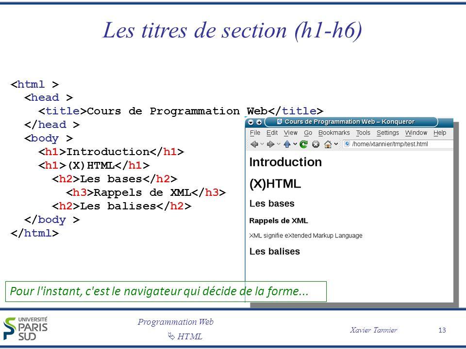 Programmation Web Xavier Tannier HTML Les titres de section (h1-h6) 13 Cours de Programmation Web Introduction (X)HTML Les bases Rappels de XML Les ba