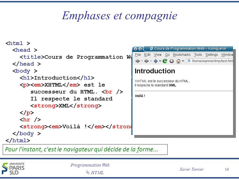 Programmation Web Xavier Tannier HTML Emphases et compagnie 14 Cours de Programmation Web Introduction XHTML est le successeur du HTML. Il respecte le