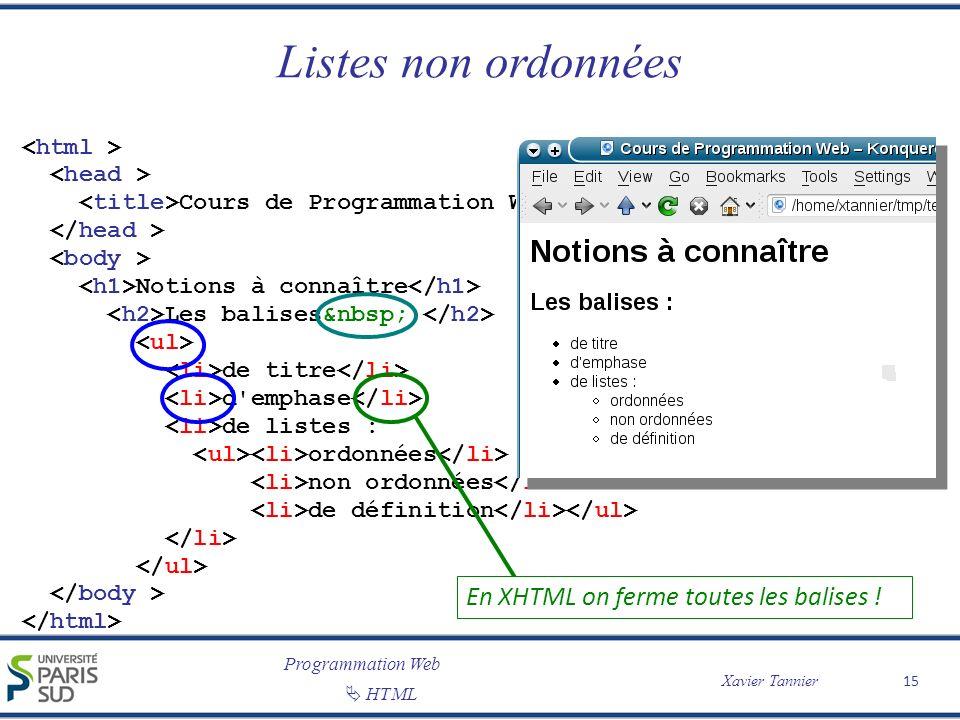 Programmation Web Xavier Tannier HTML Listes non ordonnées 15 Cours de Programmation Web Notions à connaître Les balises : de titre d'emphase de liste