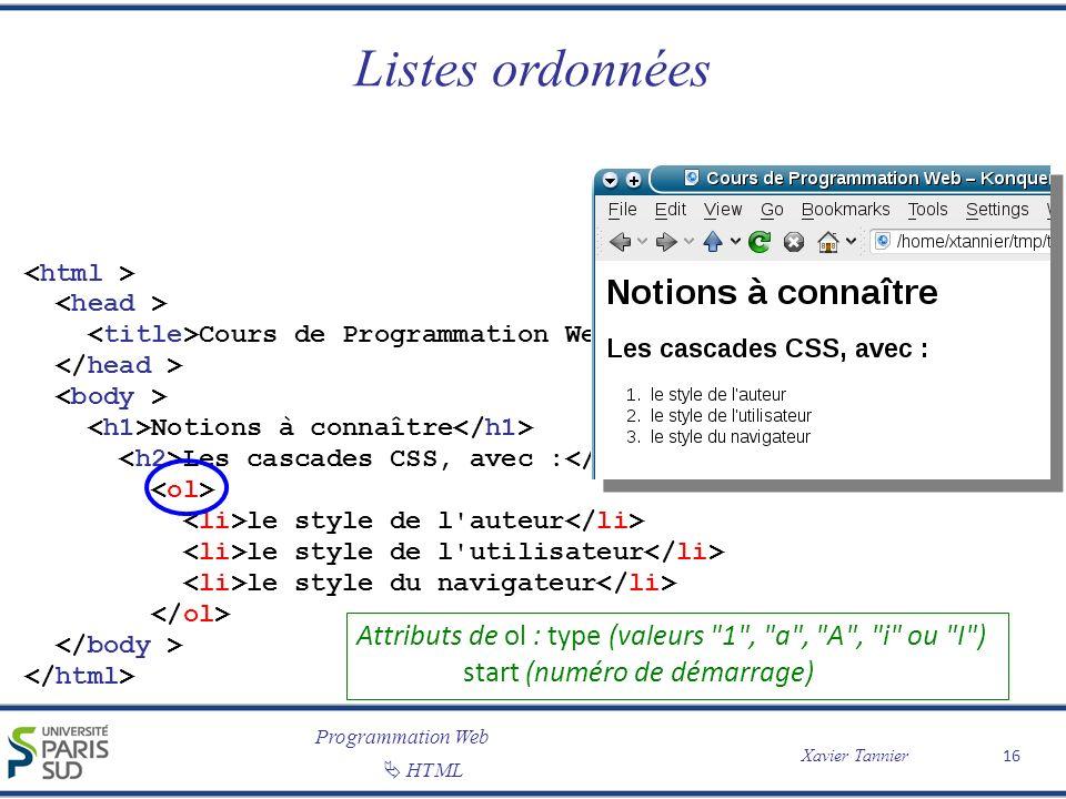 Programmation Web Xavier Tannier HTML Listes ordonnées 16 Cours de Programmation Web Notions à connaître Les cascades CSS, avec : le style de l'auteur