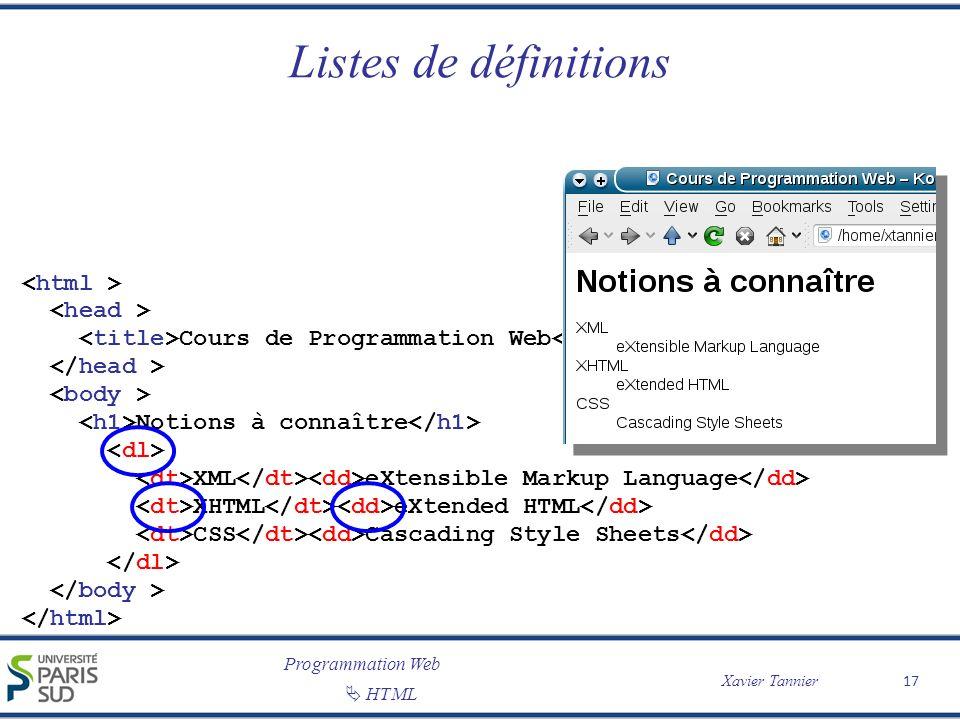 Programmation Web Xavier Tannier HTML Listes de définitions 17 Cours de Programmation Web Notions à connaître XML eXtensible Markup Language XHTML eXt