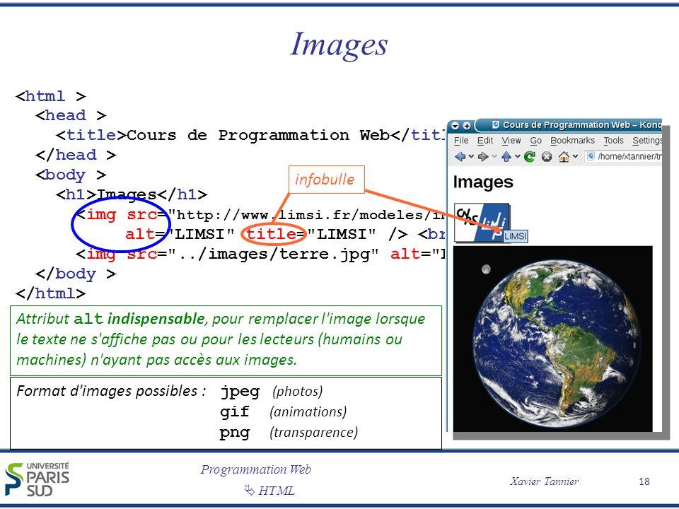 Programmation Web Xavier Tannier HTML Images 18 Cours de Programmation Web Images Attribut alt indispensable, pour remplacer l'image lorsque le texte