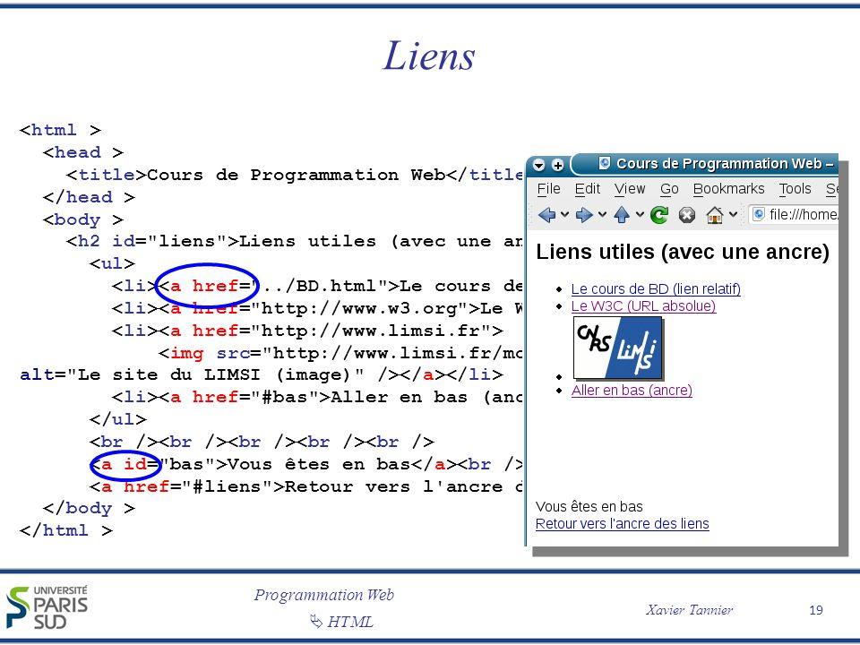 Programmation Web Xavier Tannier HTML Liens 19 Cours de Programmation Web Liens utiles (avec une ancre) Le cours de BD (lien relatif) Le W3C (URL abso