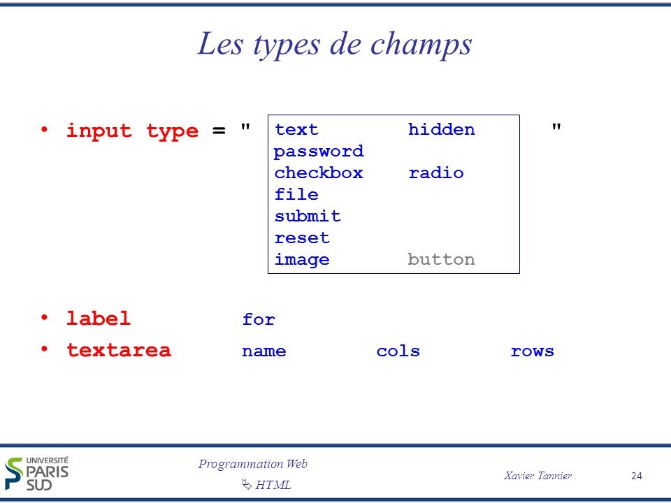 Programmation Web Xavier Tannier HTML Les types de champs 24 input type =
