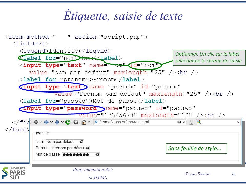 Programmation Web Xavier Tannier HTML Étiquette, saisie de texte 25 Identité Nom Prénom Mot de passe Sans feuille de style... Optionnel. Un clic sur l