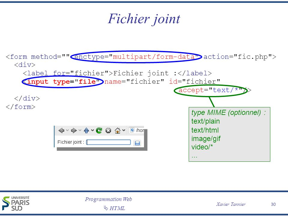 Programmation Web Xavier Tannier HTML Fichier joint 30 Fichier joint : type MIME (optionnel) : text/plain text/html image/gif video/*...