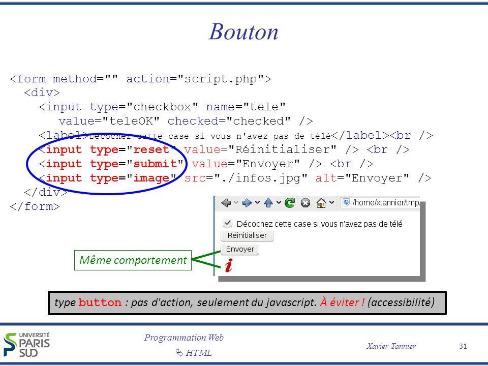 Programmation Web Xavier Tannier HTML Bouton 31 Décochez cette case si vous n'avez pas de télé Même comportement type button : pas d'action, seulement