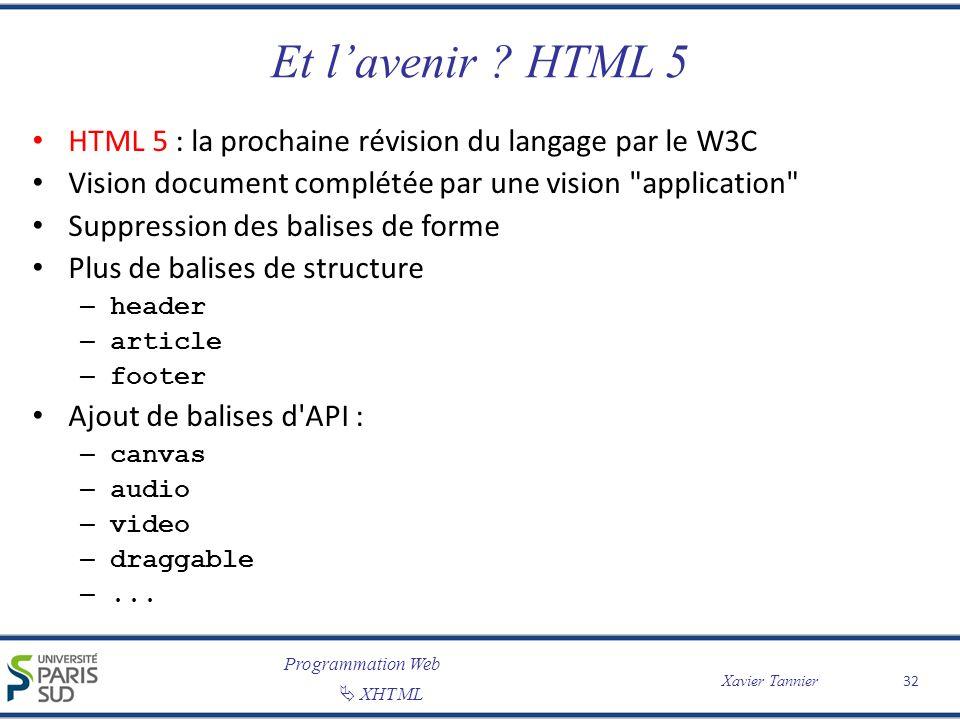 Programmation Web XHTML Xavier Tannier Et lavenir ? HTML 5 HTML 5 : la prochaine révision du langage par le W3C Vision document complétée par une visi