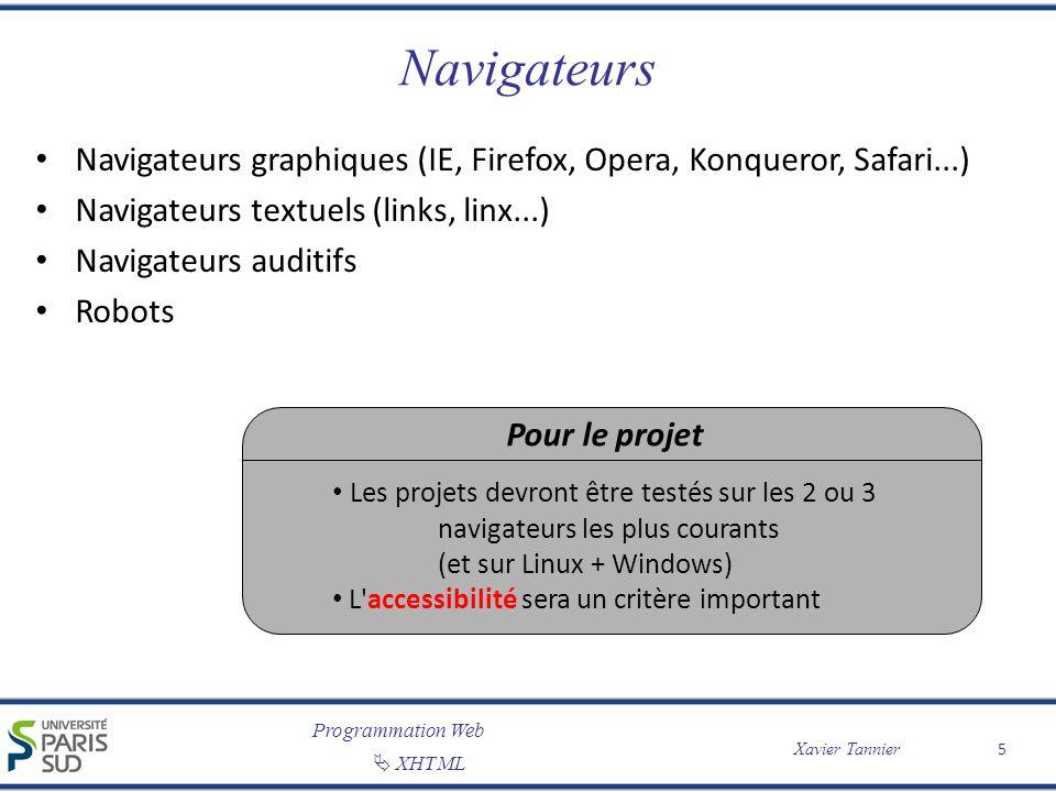 Programmation Web XHTML Xavier Tannier Navigateurs Navigateurs graphiques (IE, Firefox, Opera, Konqueror, Safari...) Navigateurs textuels (links, linx
