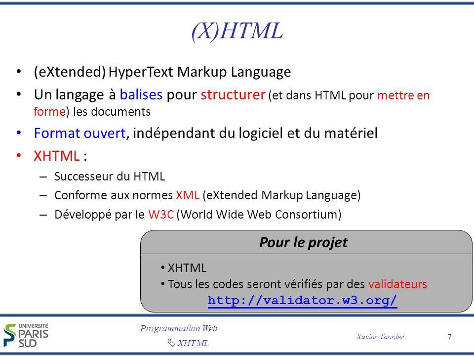 Programmation Web XHTML Xavier Tannier (X)HTML (eXtended) HyperText Markup Language Un langage à balises pour structurer (et dans HTML pour mettre en