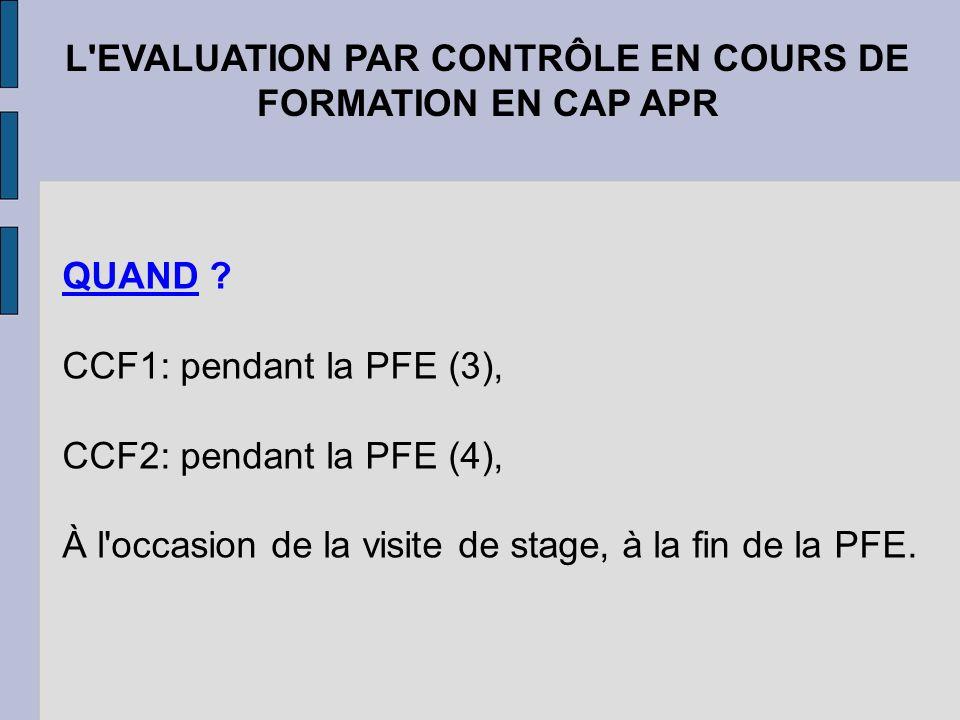 L'EVALUATION PAR CONTRÔLE EN COURS DE FORMATION EN CAP APR QUAND ? CCF1: pendant la PFE (3), CCF2: pendant la PFE (4), À l'occasion de la visite de st
