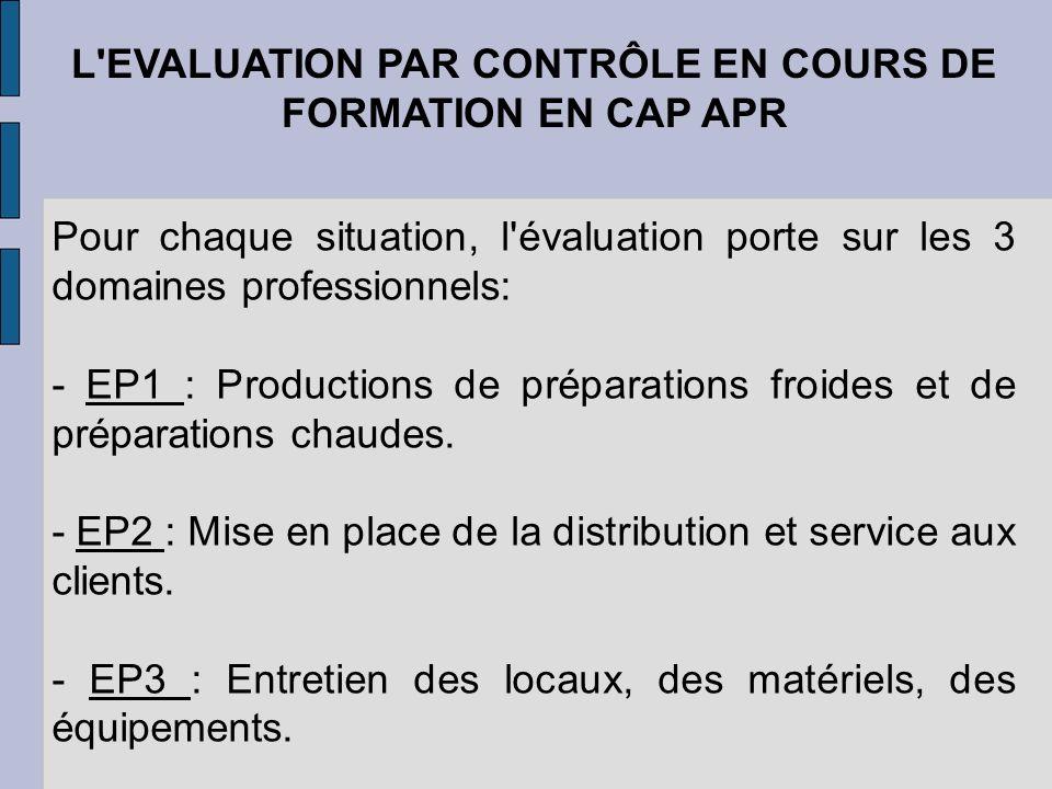 L'EVALUATION PAR CONTRÔLE EN COURS DE FORMATION EN CAP APR Pour chaque situation, l'évaluation porte sur les 3 domaines professionnels: - EP1 : Produc