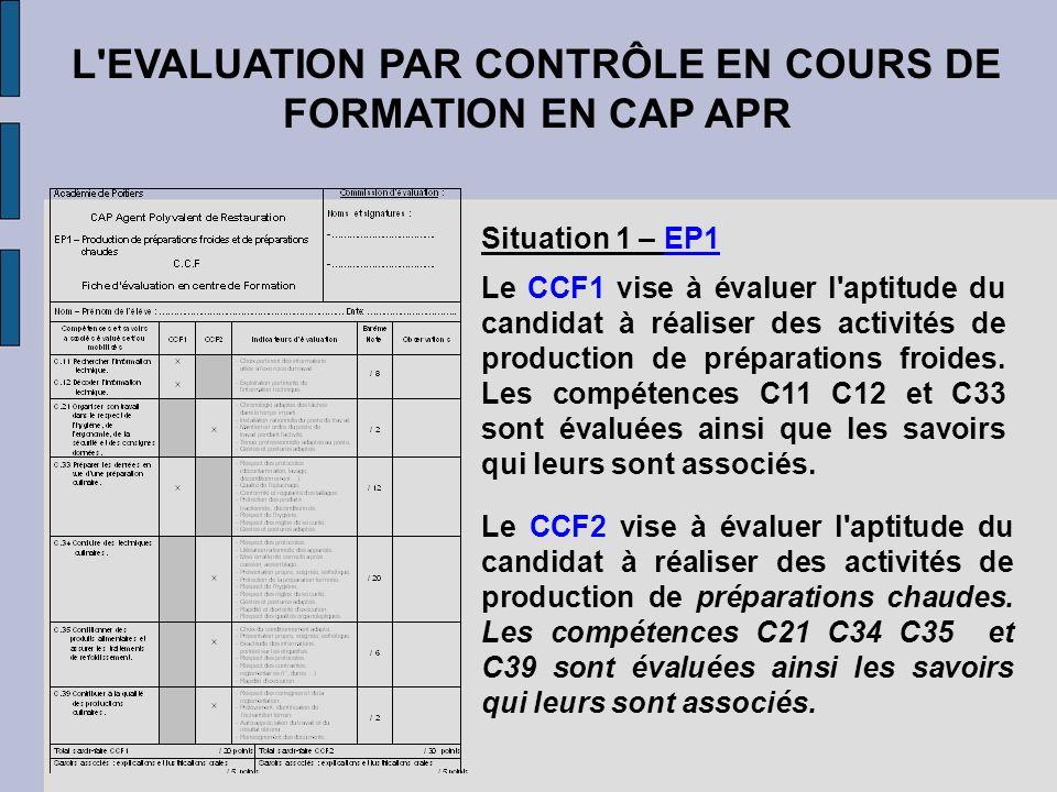 L'EVALUATION PAR CONTRÔLE EN COURS DE FORMATION EN CAP APR Situation 1 – EP1 Le CCF1 vise à évaluer l'aptitude du candidat à réaliser des activités de