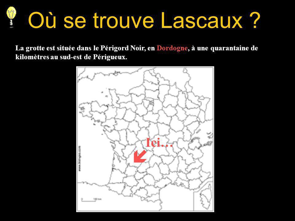 Où se trouve Lascaux ? La grotte est située dans le Périgord Noir, en Dordogne, à une quarantaine de kilomètres au sud-est de Périgueux. Ici…