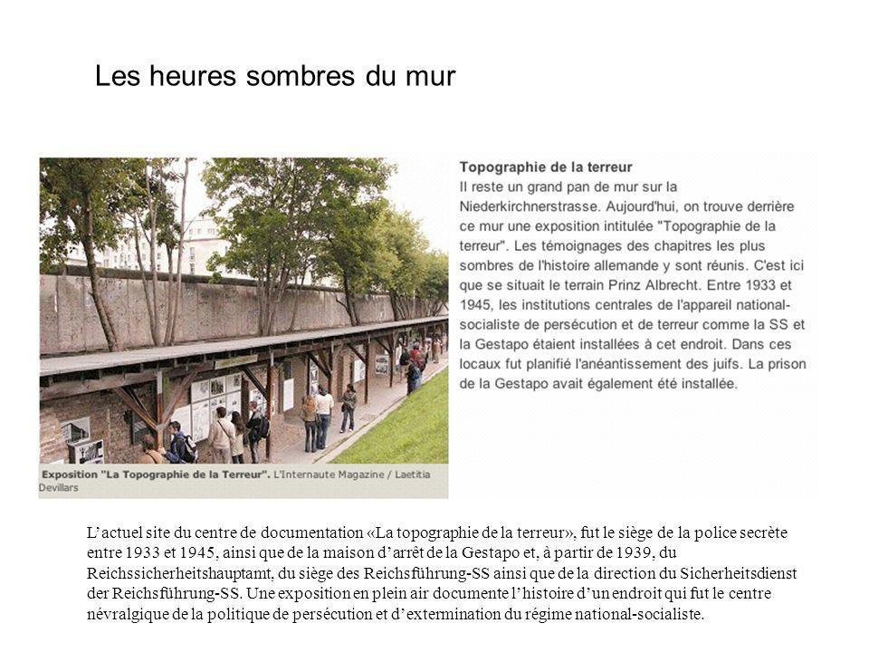 Les heures sombres du mur Lactuel site du centre de documentation «La topographie de la terreur», fut le siège de la police secrète entre 1933 et 1945