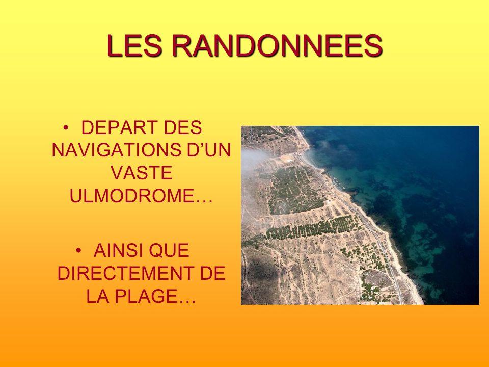 LES RANDONNEES DEPART DES NAVIGATIONS DUN VASTE ULMODROME… AINSI QUE DIRECTEMENT DE LA PLAGE…