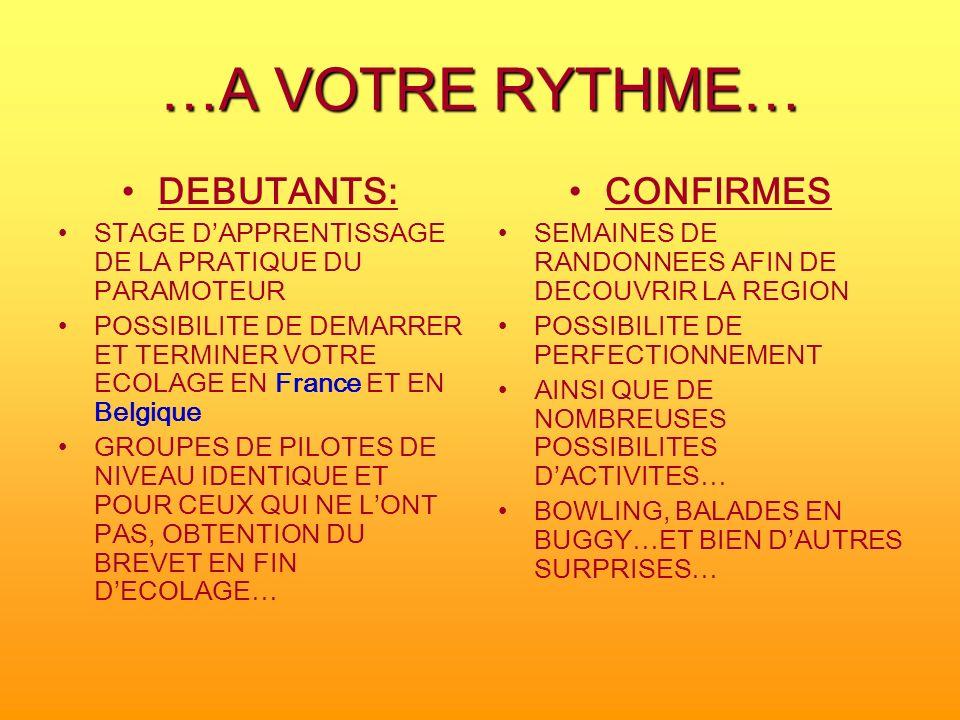 …A VOTRE RYTHME… DEBUTANTS: STAGE DAPPRENTISSAGE DE LA PRATIQUE DU PARAMOTEUR POSSIBILITE DE DEMARRER ET TERMINER VOTRE ECOLAGE EN France ET EN Belgiq