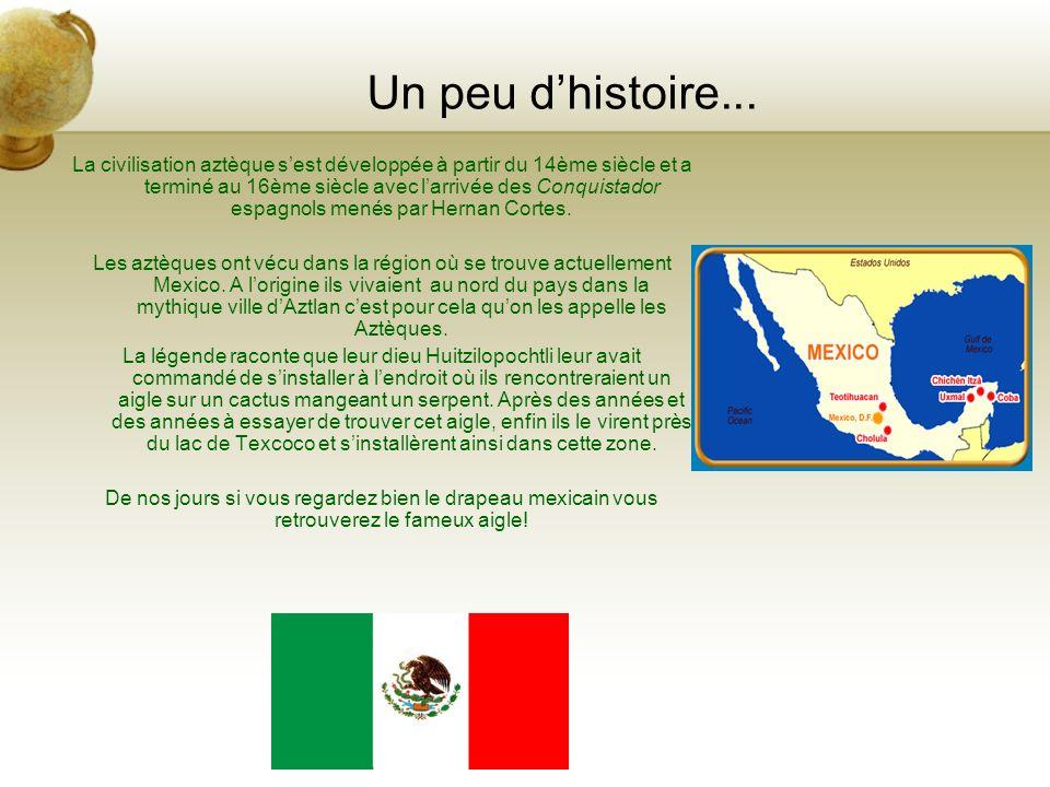 Mais qui sont les aztèques ? En arrivant au Mexique j ai pu découvrir une nouvelle culture très différente de la notre! L histoire du Mexique est tr è