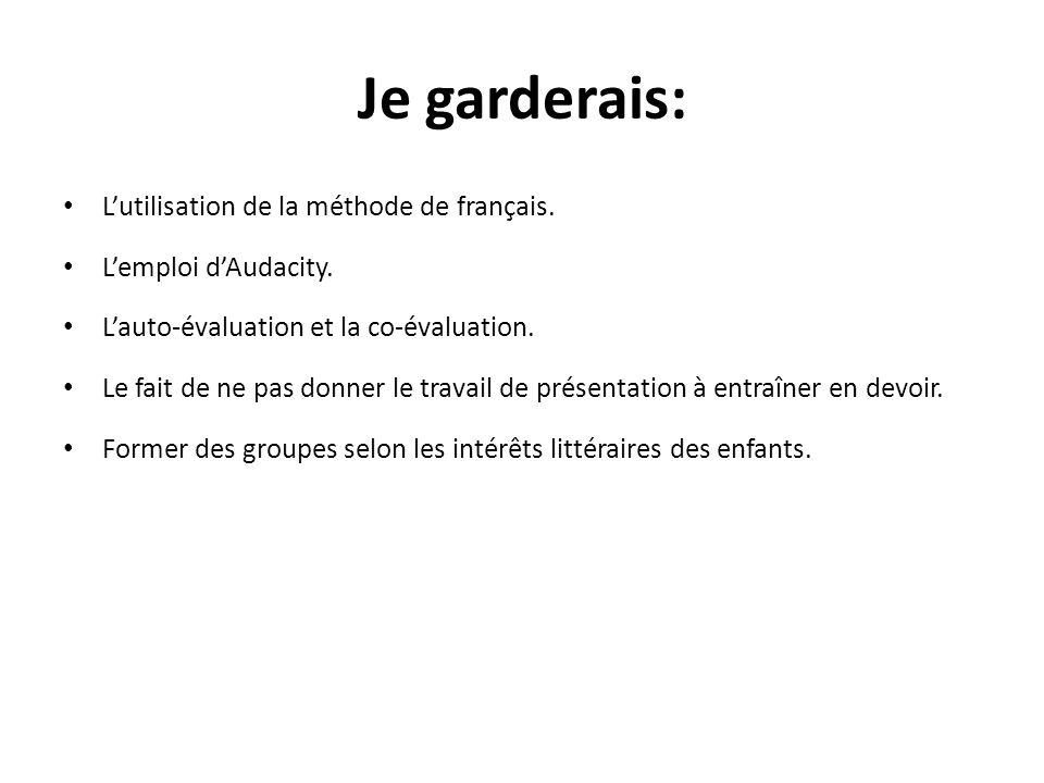 Je garderais: Lutilisation de la méthode de français. Lemploi dAudacity. Lauto-évaluation et la co-évaluation. Le fait de ne pas donner le travail de