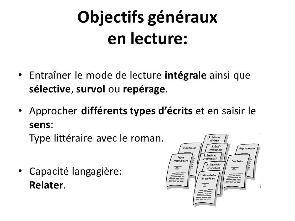 Objectifs généraux en lecture: Entraîner le mode de lecture intégrale ainsi que sélective, survol ou repérage. Approcher différents types décrits et e