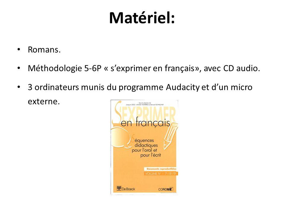 Matériel: Romans. Méthodologie 5-6P « sexprimer en français», avec CD audio. 3 ordinateurs munis du programme Audacity et dun micro externe.