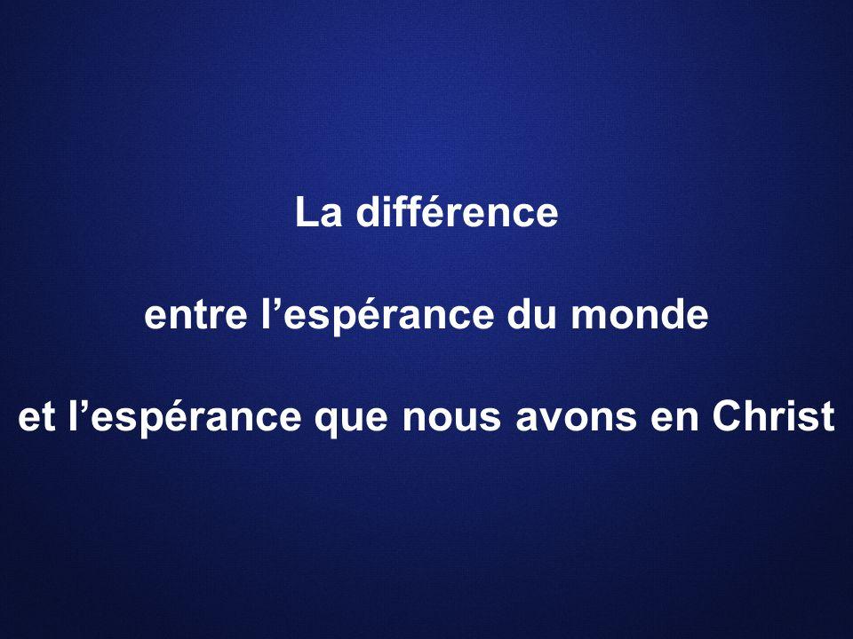 La différence entre lespérance du monde et lespérance que nous avons en Christ