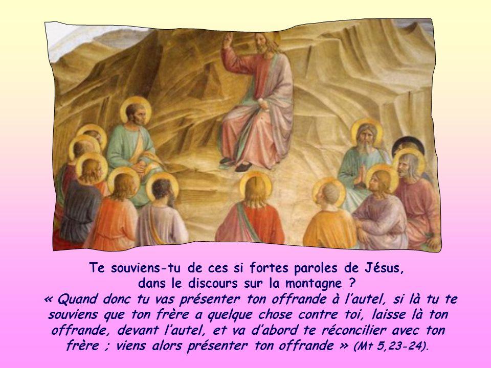 «… non le sacrifice. » Sans lamour pour ton frère, ton culte ne peut plaire à Jésus. Il naccueille ni ta prière, ni ta participation à lEucharistie, n