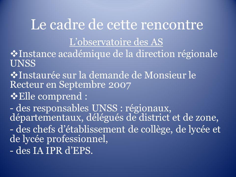 Le cadre de cette rencontre Lobservatoire des AS Instance académique de la direction régionale UNSS Instaurée sur la demande de Monsieur le Recteur en