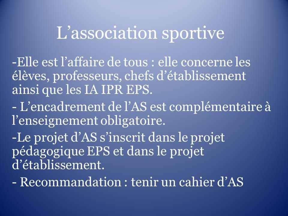 Lassociation sportive -Elle est laffaire de tous : elle concerne les élèves, professeurs, chefs détablissement ainsi que les IA IPR EPS. - Lencadremen