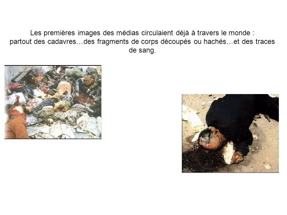 Les premières images des médias circulaient déjà à travers le monde : partout des cadavres…des fragments de corps découpés ou hachés…et des traces de