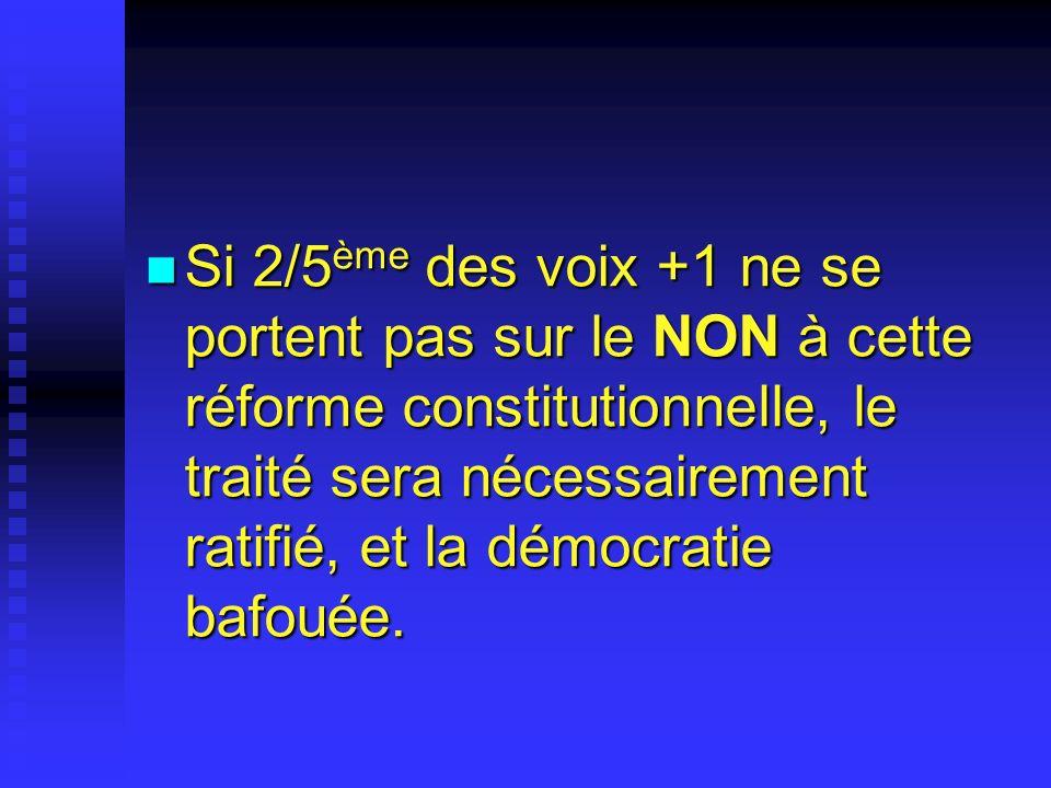 Si 2/5 ème des voix +1 ne se portent pas sur le NON à cette réforme constitutionnelle, le traité sera nécessairement ratifié, et la démocratie bafouée.