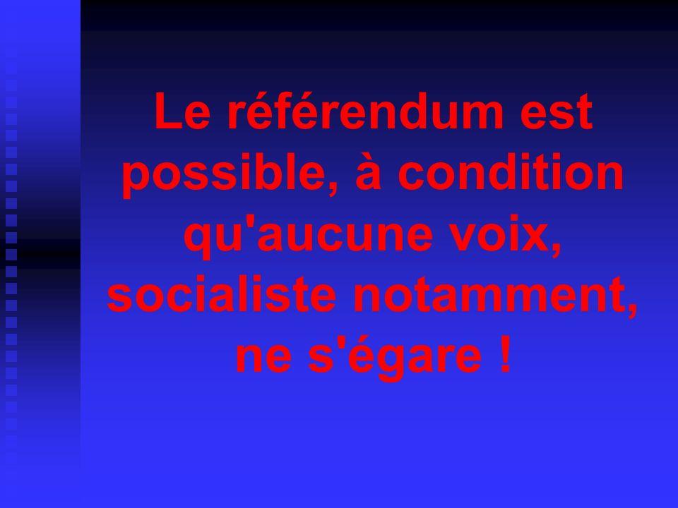 Le référendum est possible, à condition qu aucune voix, socialiste notamment, ne s égare !