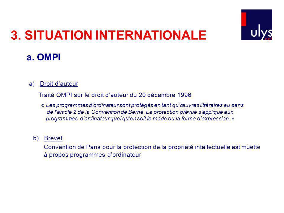3. SITUATION INTERNATIONALE a) Droit dauteur Traité OMPI sur le droit dauteur du 20 décembre 1996 « Les programmes d'ordinateur sont protégés en tant