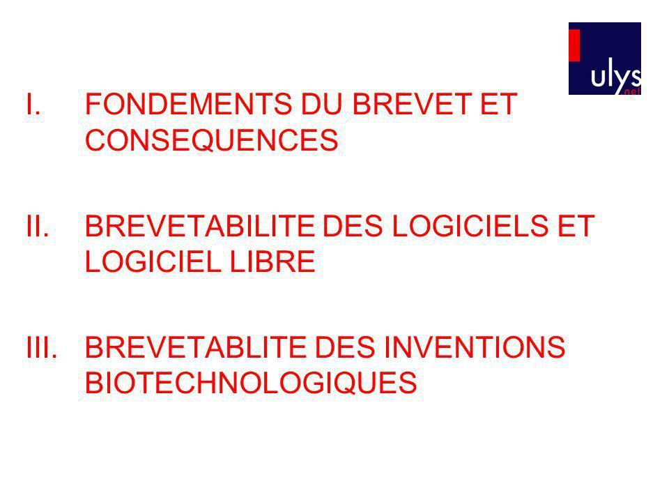 I.FONDEMENTS DU BREVET ET CONSEQUENCES II.BREVETABILITE DES LOGICIELS ET LOGICIEL LIBRE III.BREVETABLITE DES INVENTIONS BIOTECHNOLOGIQUES